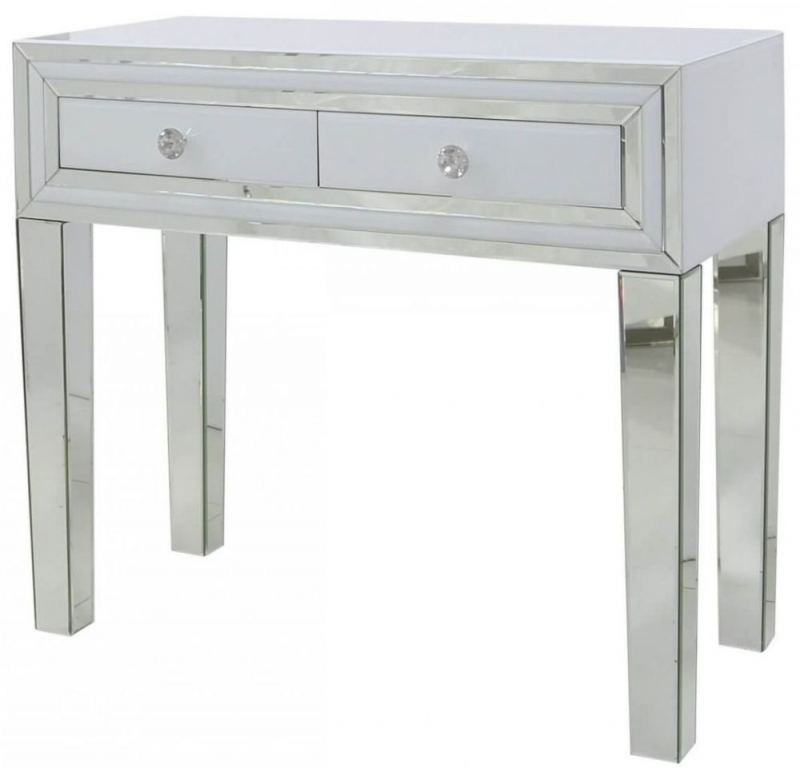 White Montague Mirrored 2 Drawer Console Table