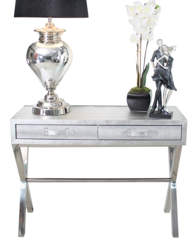 Enna Silver Faux Snakeskin 2 Drawer Console Table