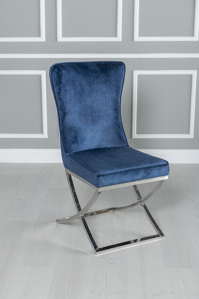 Buy Urban Deco Orbit Cream Marble and Chrome 200cm Dining Table with 4 Lyon Blue Fabric Chairs and Get 2 Extra Chairs Worth £438 For FREE