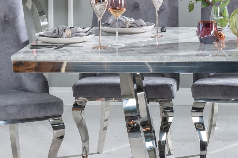 Buy Urban Deco Orbit Grey Marble and Chrome 200cm Dining Table with 4 Premiere Grey Knockerback Chairs and Get 2 Extra Chairs Worth £398 For FREE