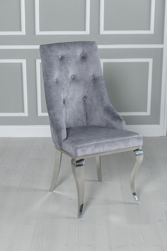 Urban Deco Vortex 220cm Grey Marble and Chrome Dining Table and 6 Premiere Grey Knockerback Chairs