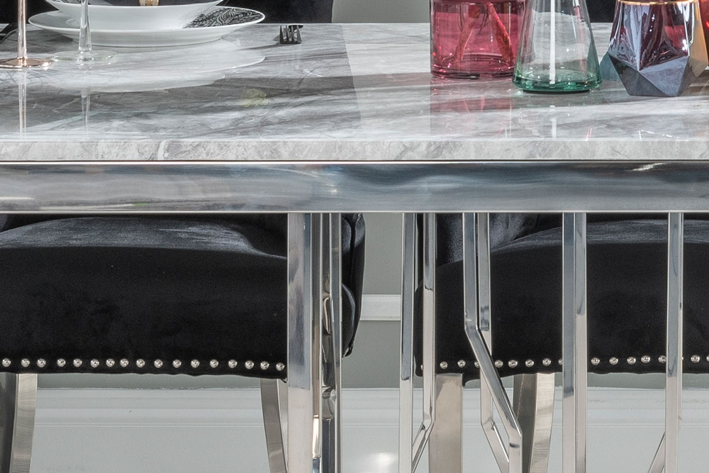 Buy Urban Deco Vortex Grey Marble and Chrome 220cm Dining Table with 4 Black Knockerback Chrome Leg Chairs and Get 2 Extra Chairs Worth £358 For FREE
