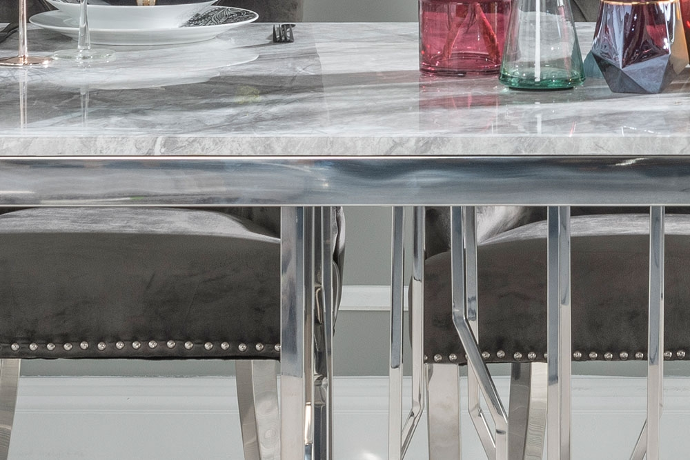 Urban Deco Vortex Dining Table with Grey Velvet Knockerback Chairs - Grey Marble and Stainless Steel Chrome