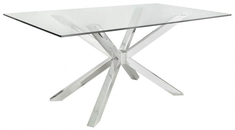 Aston Dining Table - Glass and Chrome