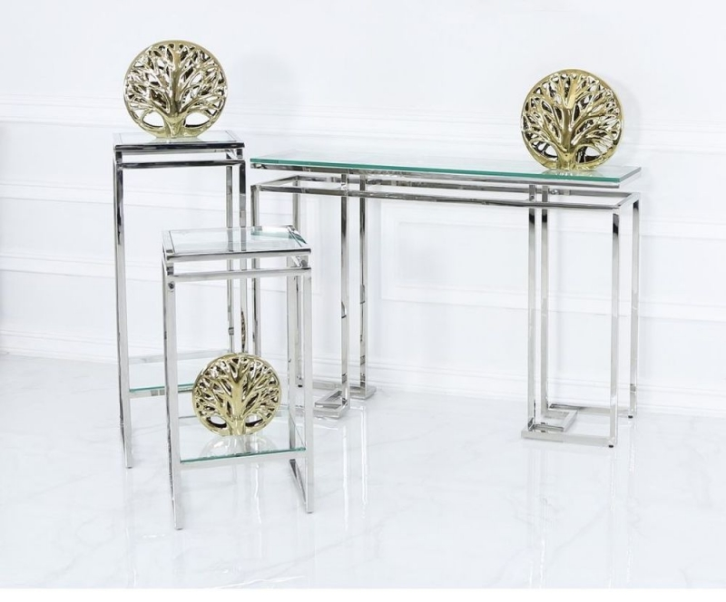 Fairbanks Small Plant Stand - Glass and Chrome