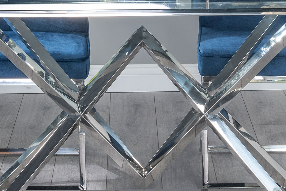 Urban Deco Pyramid Dining Table with Lyon Tufted Back Blue Fabric Chairs - Glass and Stainless Steel Chrome
