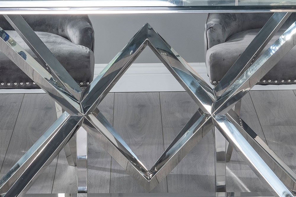 Buy Urban Deco Pyramid Glass and Chrome 200cm Dining Table with 4 Grey Knockerback Chrome Leg Chairs and Get 2 Extra Chairs Worth £398 For FREE
