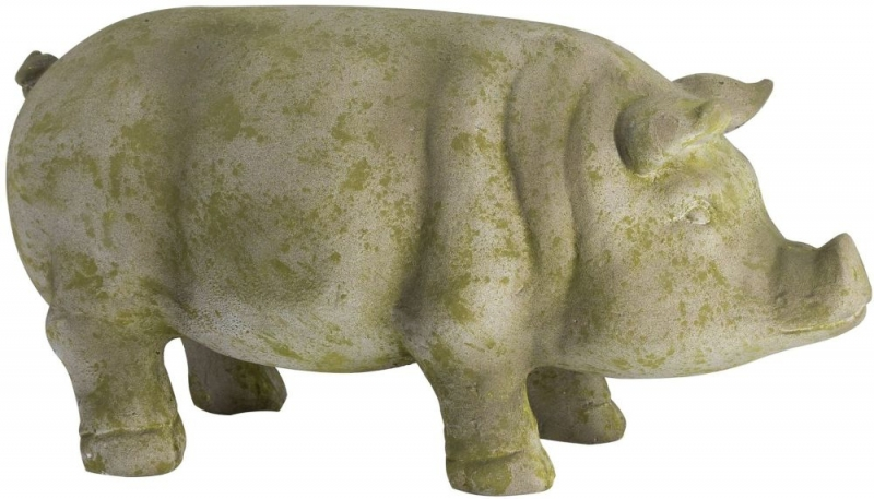 Hill Interiors Aged Stone Outdoor Standing Hereford Pig Ornament