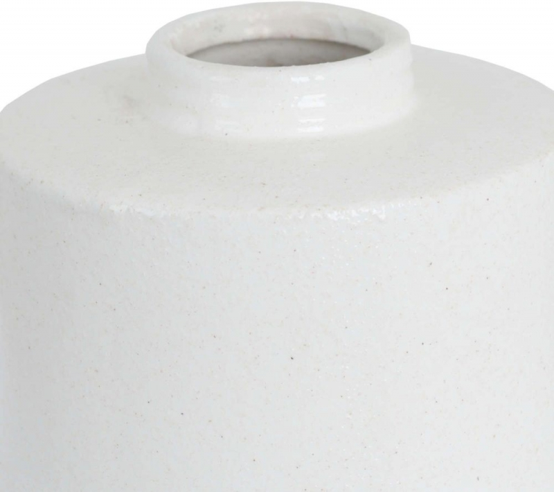 Hill Interiors White with Grey Detail Large Cylindrical Ceramic Vase