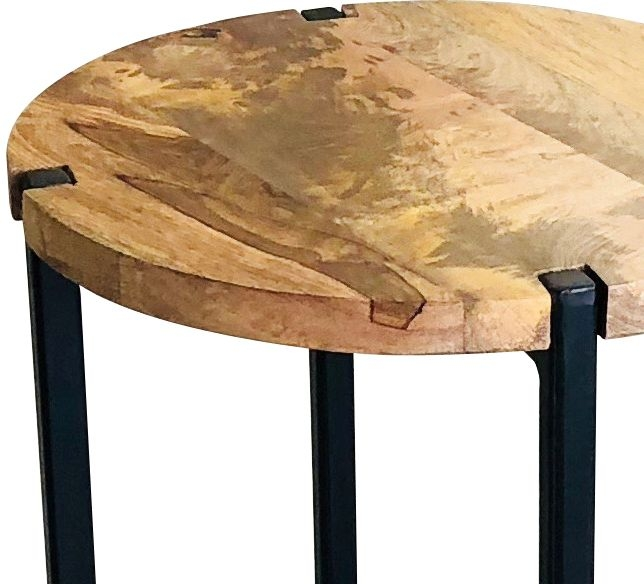 Jaipur Ravi Plain Round Stool - Mango Wood and Iron
