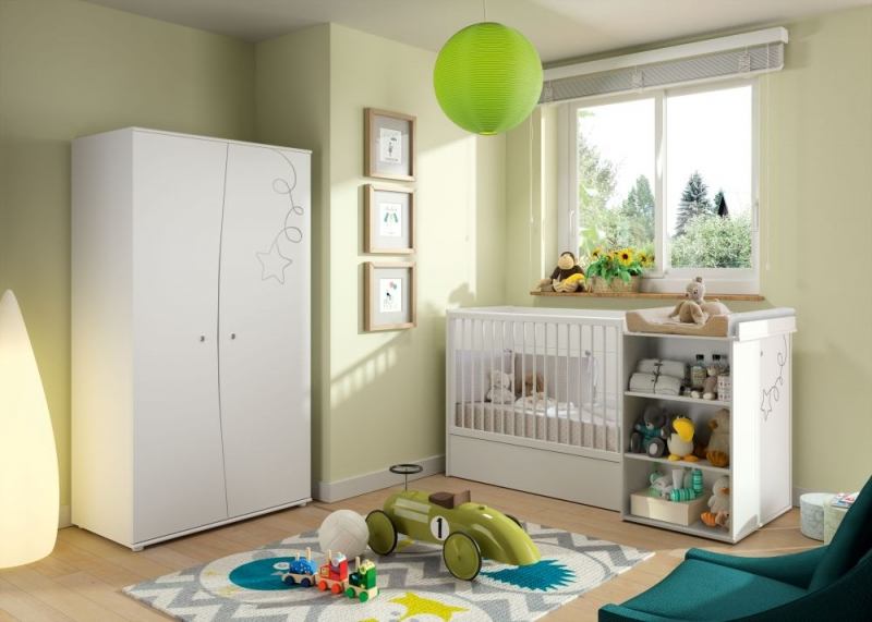 Gami Adele White Foil Compact Cot Bed System