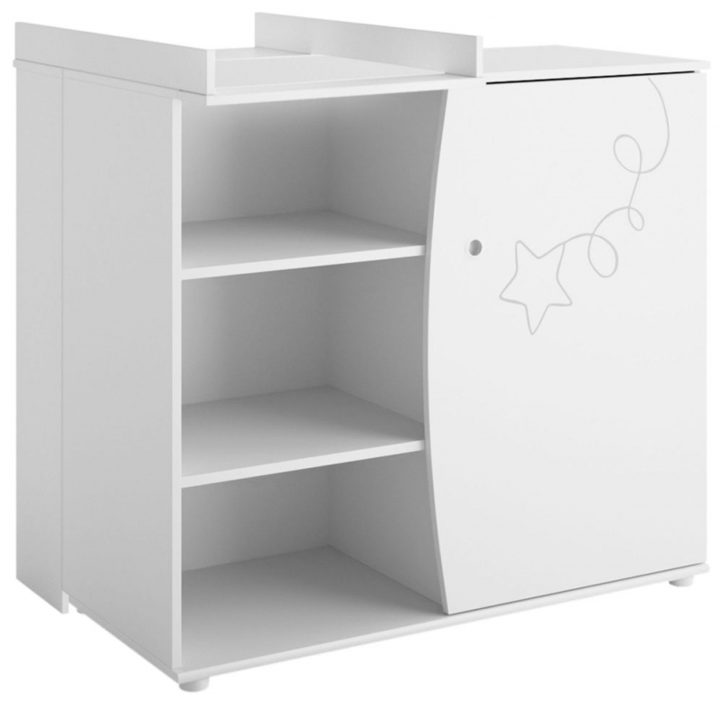 Gami Adele White Foil 1 Door Chest with Changing Table