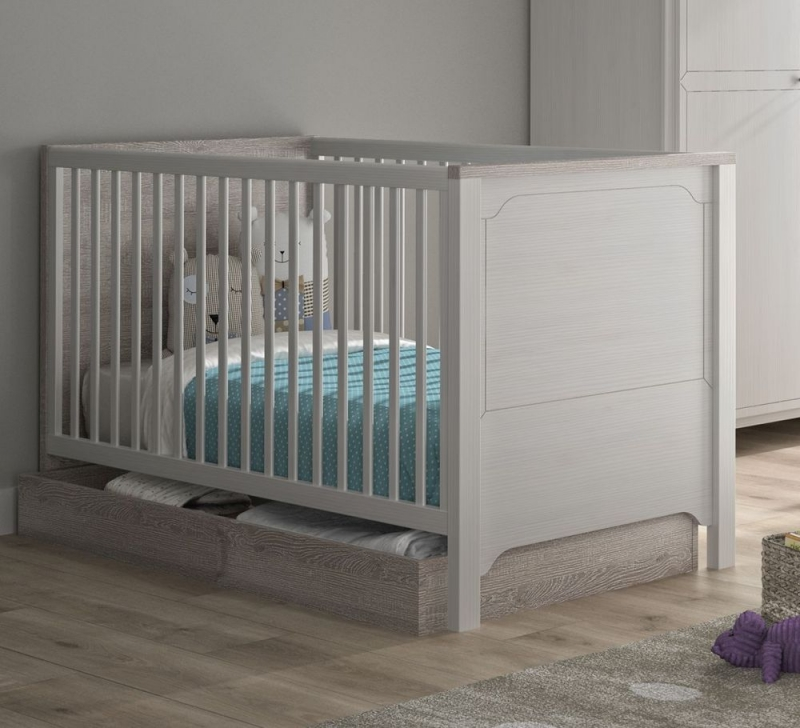 Gami Charlotte Veined White Cot Bed