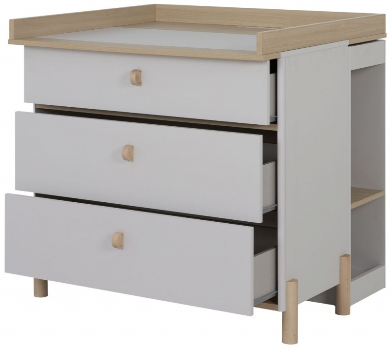 Gami Eliott Sanded Light Grey 3 Drawer Chest with Changing Board and Bookcase