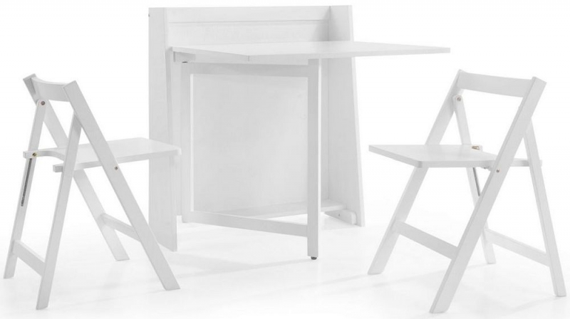 Julian Bowen Helsinki White Dining Table and 2 Folding Chairs