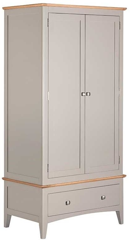 Lowell Oak and Grey Painted 2 Door 1 Drawer Wardrobe