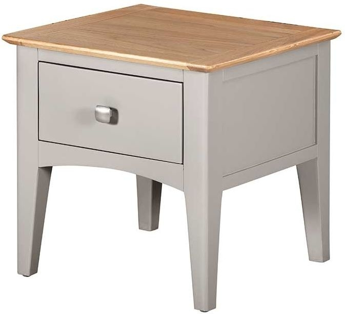 Lowell Oak and Grey Painted 1 Drawer Lamp Table