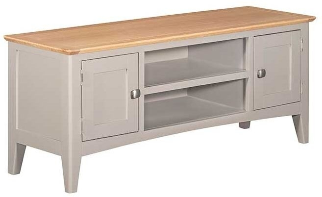 Lowell Oak and Grey Painted Large TV Unit