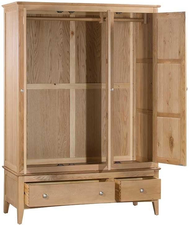 Lowell Natural Oak 3 Door 2 Drawer Wardrobe