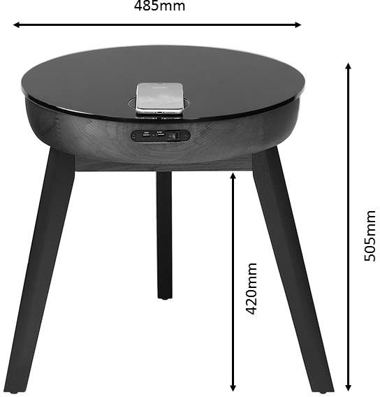 Jual San Francisco Walnut and Black Glass Smart Lamp Table - JF710GLASS