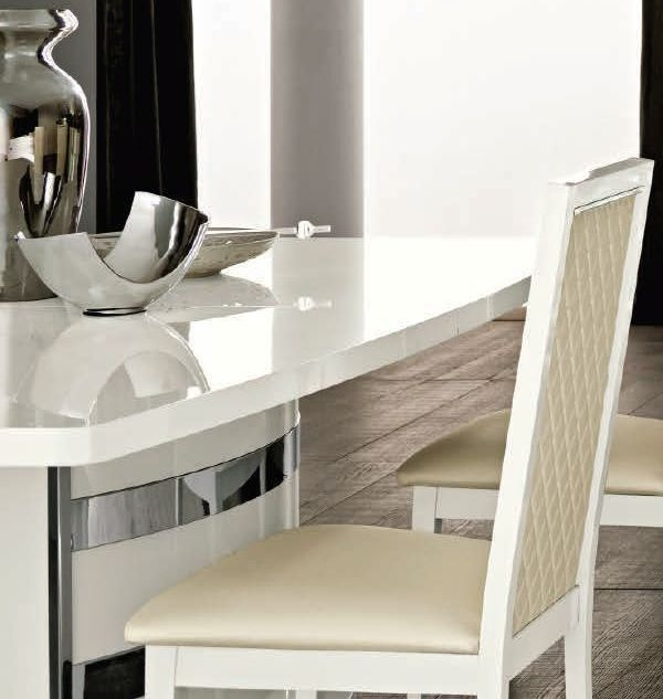 Camel Roma Day White Italian Butterfly Extending Dining Table and 6 Rombi Upholstered Chairs