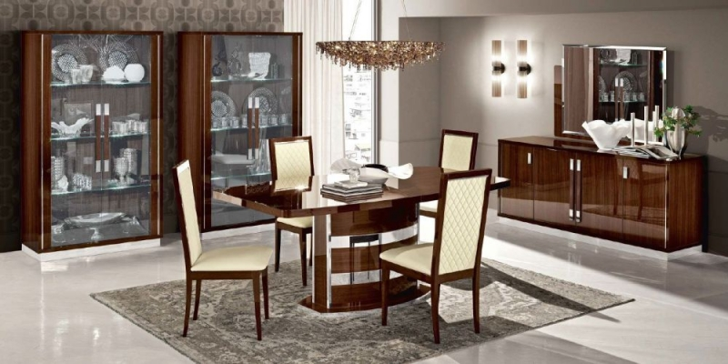 Camel Roma Day Walnut Italian Butterfly Extending Dining Table and 6 Rombi Eco Leather Chairs
