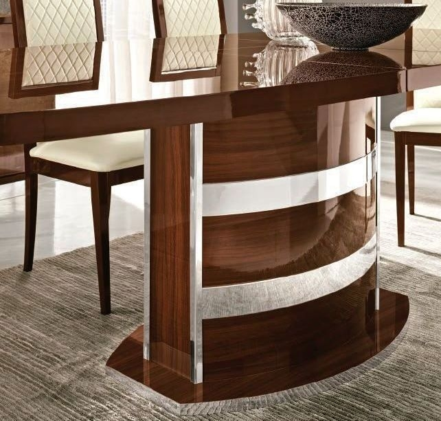 Camel Roma Day Walnut Italian Butterfly Extending Dining Table and 6 Capitonne Eco Leather Chairs