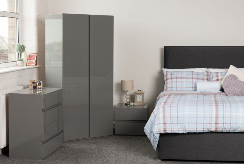 Sweet Dreams Carlyle High Gloss Grey Bedside Cabinet