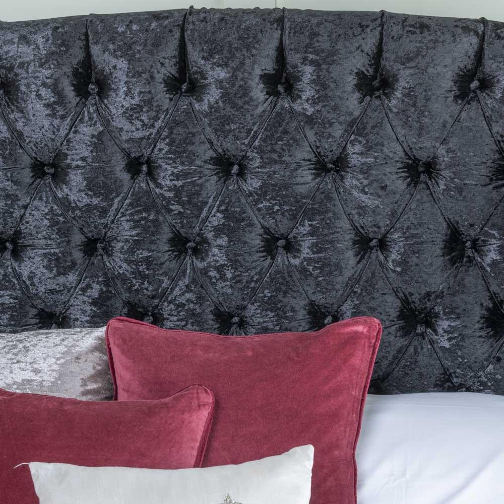 Urban Deco Buckingham Black Velvet 5ft King Size Bed