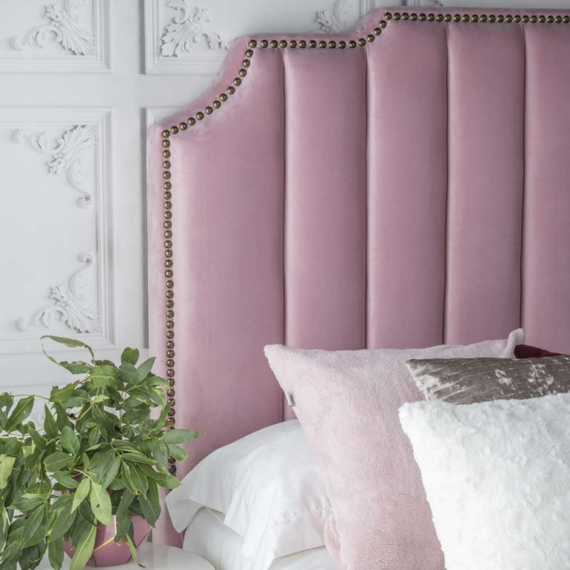 Urban Deco Charlotte Blush Pink Fabric 5ft King Size Bed
