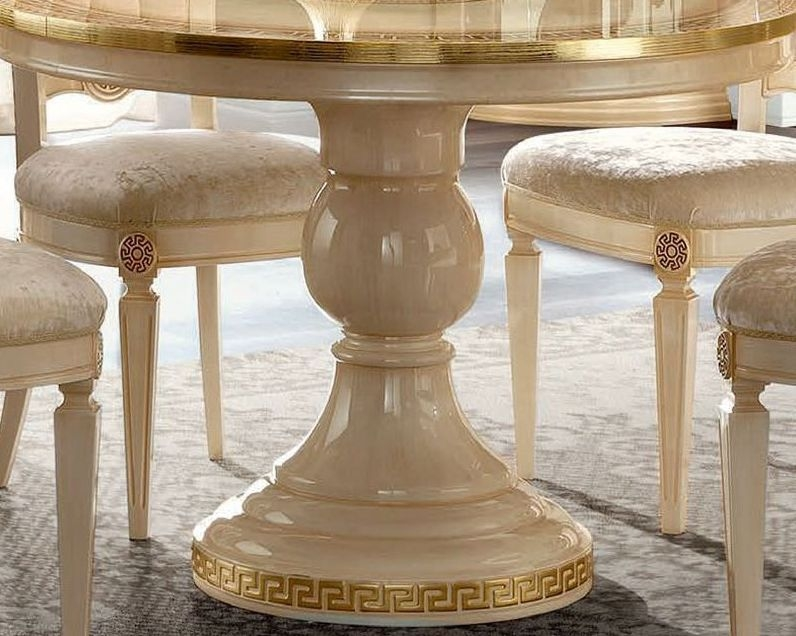 Camel Aida Day Ivory Italian Round Extending Dining Table and 4 Michelangelo Chairs