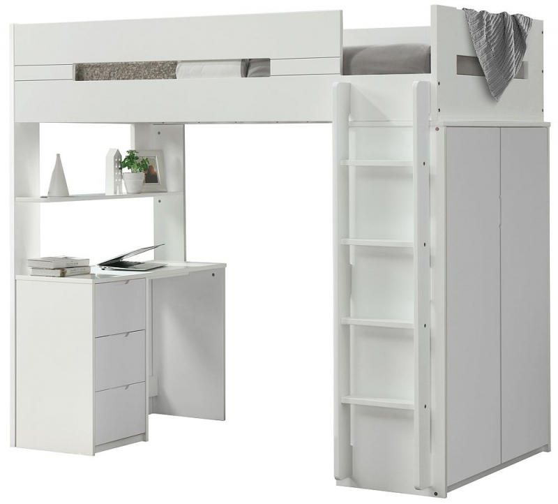 Sweet Dreams Lilo White and Grey Bunk Bed