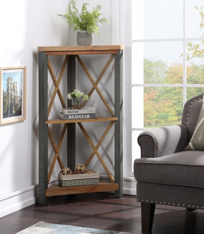 Bamhaus Urban Elegance Reclaimed Wood Small Corner Bookcase