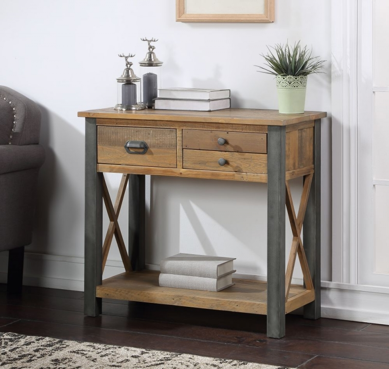 Bamhaus Urban Elegance Reclaimed Wood 3 Drawer Console Table