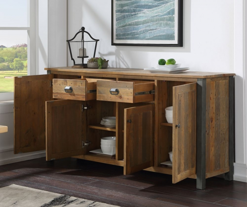 Bamhaus Urban Elegance Reclaimed Wood 4 Drawer Large Sideboard