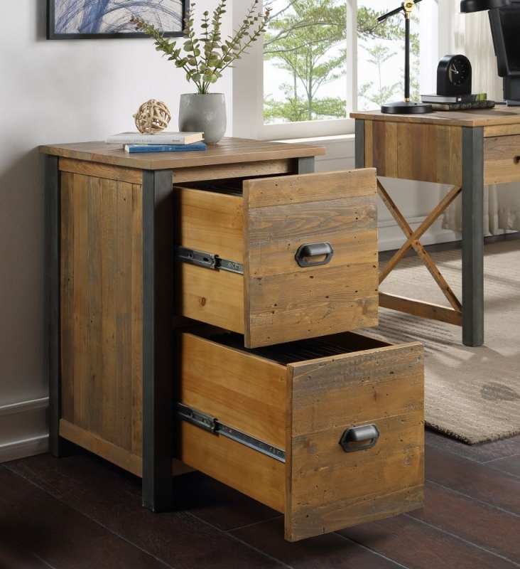 Bamhaus Urban Elegance Reclaimed Wood Two Drawer Filing Cabinet