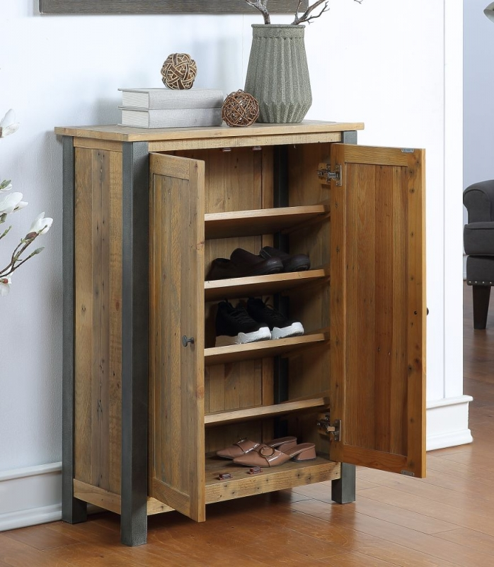 Bamhaus Urban Elegance Reclaimed Wood Small Shoe Storage Cupboard