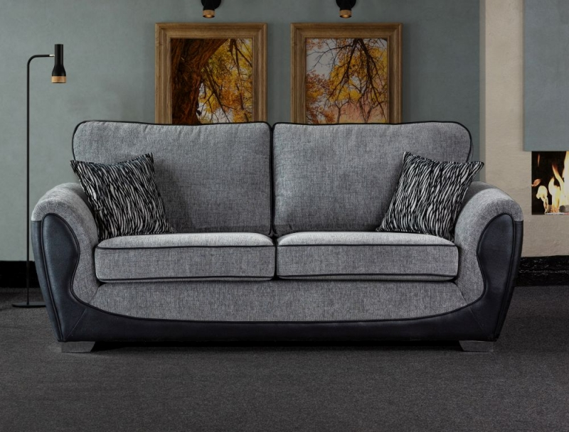Sweet Dreams Cassley 3 Seater Black and Silver Fabric Sofa