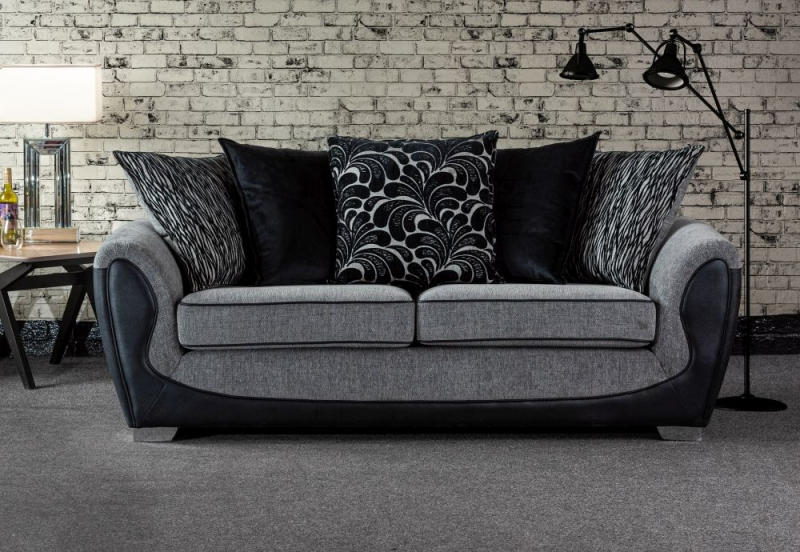 Sweet Dreams Cassley Scatterback 2.5 Seater Black and Silver Fabric Sofa