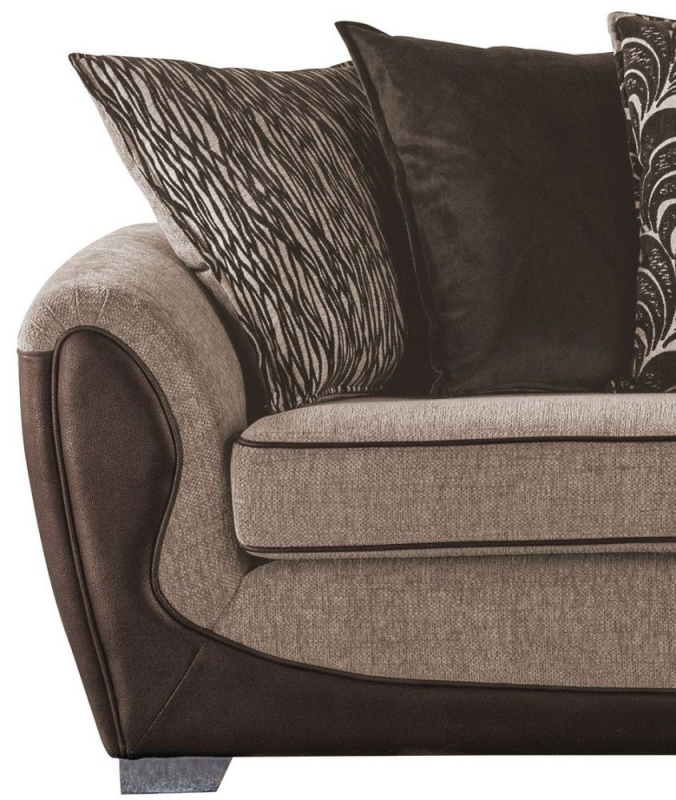 Sweet Dreams Cassley Scatterback 3 Seater Chocolate and Gold Fabric Sofa
