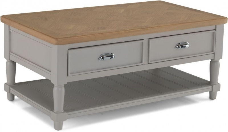 Clearance Half Price - Sorrento Grey Painted Storage Coffee Table - New - 434