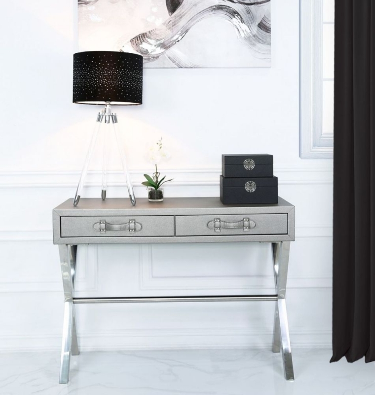Clearance Half Price - Lodi Grey Faux Leather and Chrome Console Table - New - 445