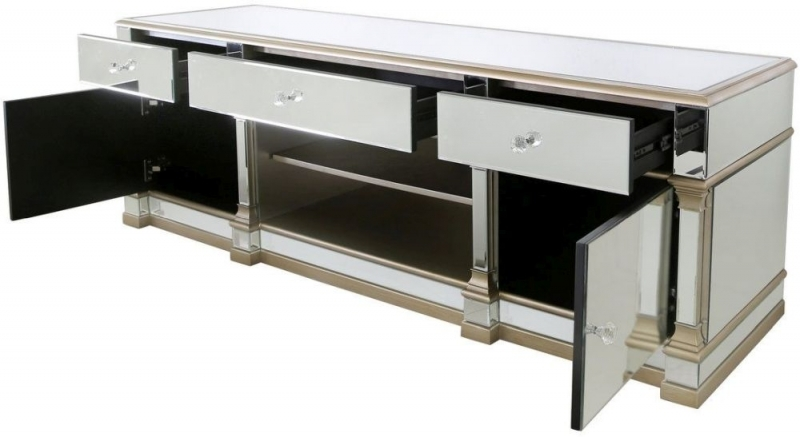 Clearance Half Price - Killona Champagne Mirrored Large Entertainment Unit - New - 481