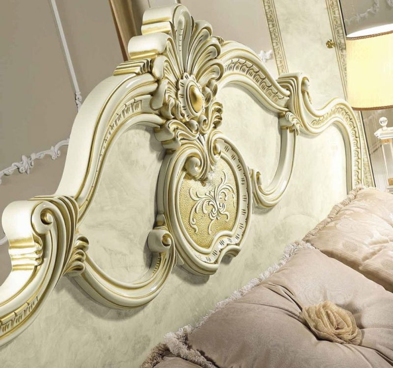 Camel Leonardo Night Italian Ivory High Gloss and Gold Bed