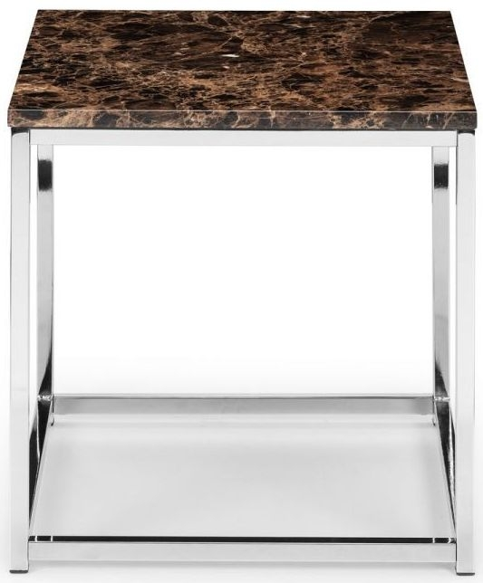 Julian Bowen Scala Bronze Marble and Stainless Steel Chrome Lamp Table
