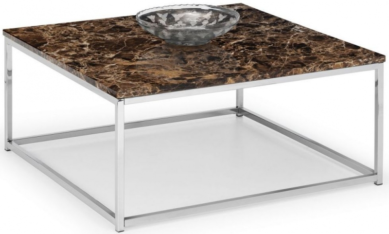 Julian Bowen Scala Bronze Marble and Stainless Steel Chrome Coffee Table