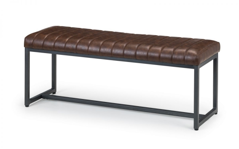 Julian Bowen Brooklyn Brown Faux Leather Upholstered Dining Bench