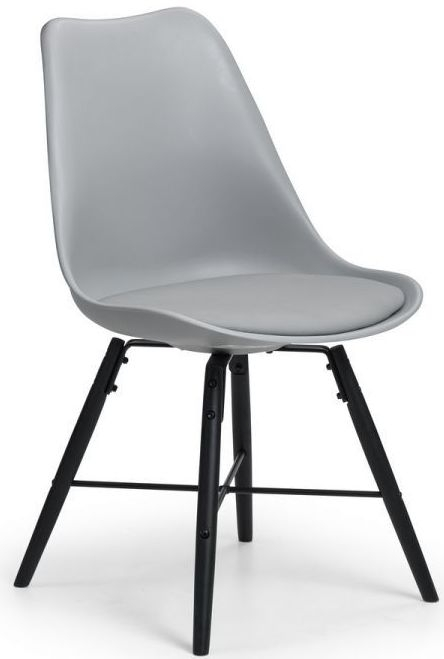Julian Bowen Kari Black and Grey Faux Leather Dining Chair (Pair)
