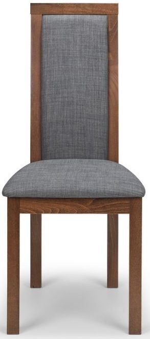 Julian Bowen Melrose Walnut and Grey Fabric Dining Chair (Pair)