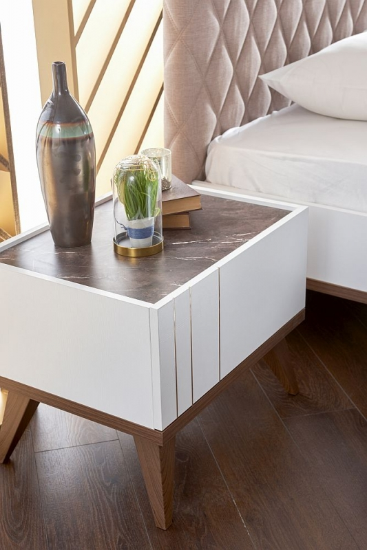 Alston White Bedside Table - Right